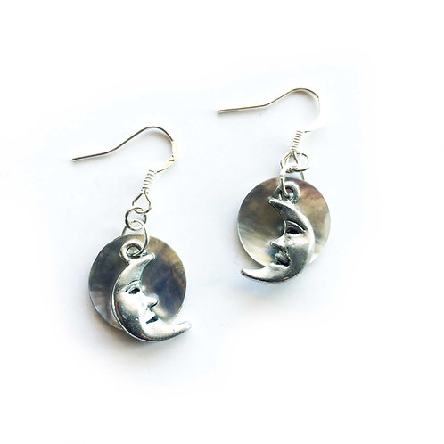 Man in the Moon with Shell mother of pearl silver tone crescent moon earrings