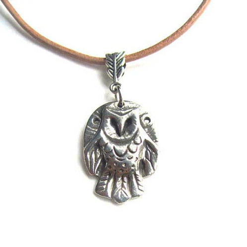 Owl pendant necklace barn owl pewter necklace owl totem jewelry