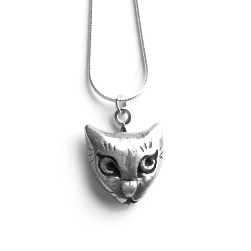 Cat Face necklace pendant cute cat jewelry gift