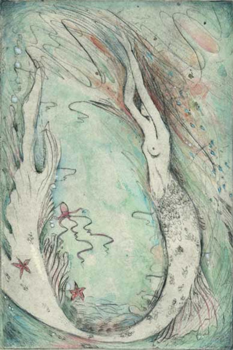 Little Mermaid Limited Edition Etching drypoint handcolored