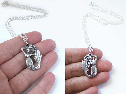 Mermaid reversible necklace pewter mermaid pendant unique mermaid gift