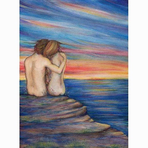 Oceans Lovers romantic art print from the original painting sunset lovers