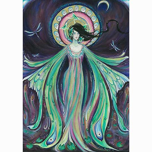 Luna Moth Fairy Art Print from the original watercolor & acrylic painting