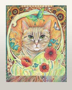 cat with flowers picture poppy cat art cat gift