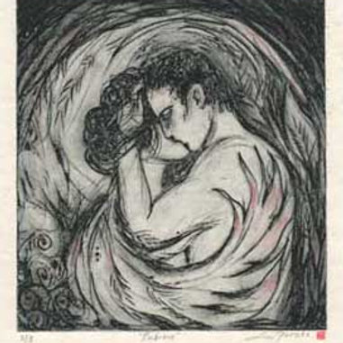 Embrace Limited Edition solar etching of lovers
