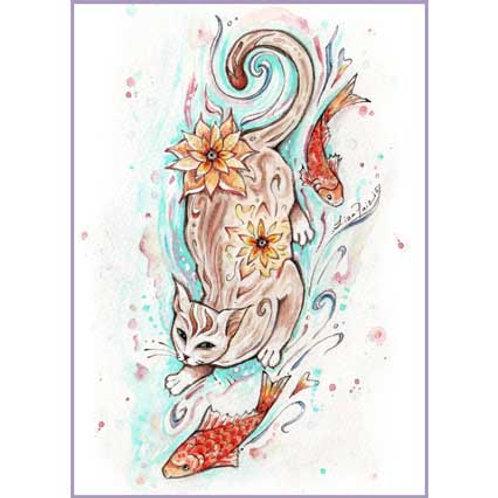 Koi Cat art print Cat with Koi fish cat lover gift