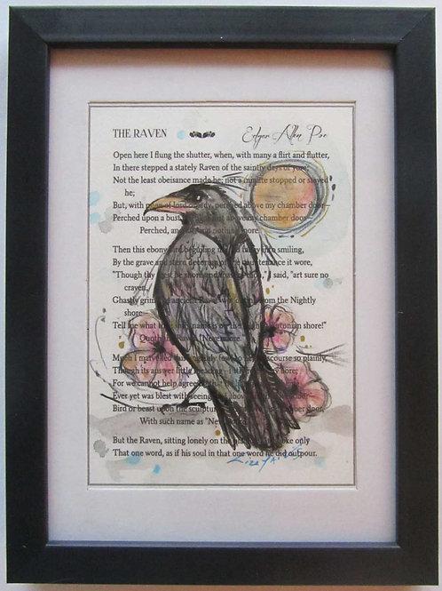 The Raven painting Edgar Allen Poe mixed media collage raven art