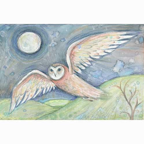 Barn Owl Art print from the original watercolor owl painting Owl Flight