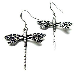 art nouveau dragonlfy earrings pewter dragonfly charms