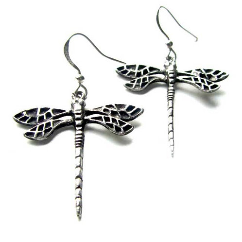 Dragonfly art nouveau earrings pewter art deco dragonfly earrings