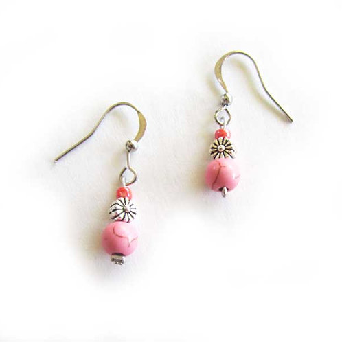 Pink Howlite silver flower earrings
