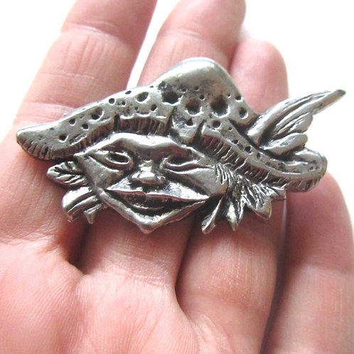 Pixie Elf brooch or pin goblin badge
