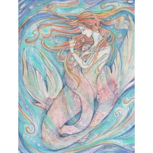 Mermaid Mother and Child mother daughter print of a watercolor mermaid painting
