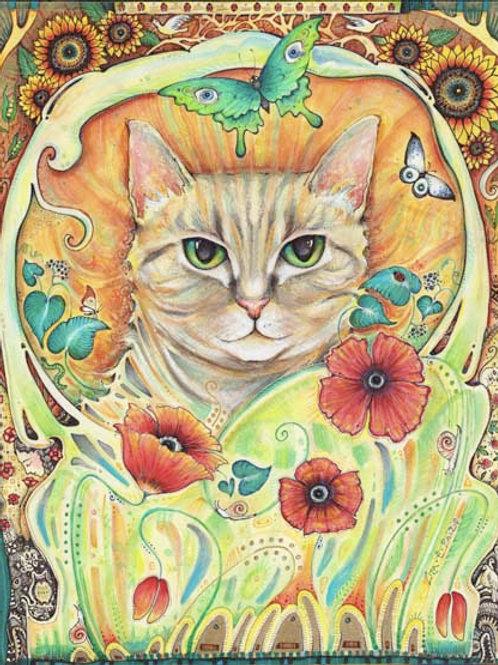 Poppy Cat Art Nouveau Original cat and flower painting by Liza Paizis