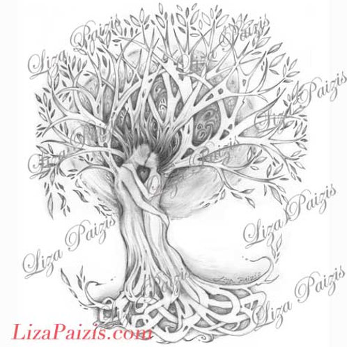 Tree of Love Tattoo design original romantic tree drawing two lovers celtic knot