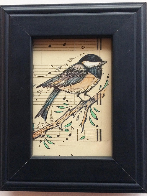 ChickaDee original framed bird painting chickadee lover gift