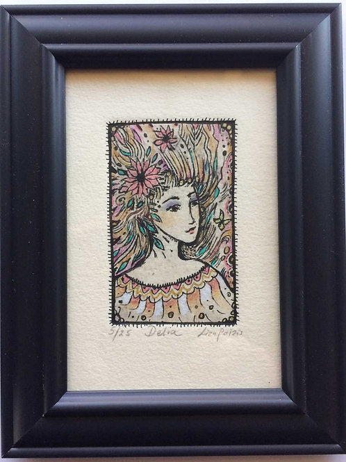 Flower girl etching original art of a flower spirit Delia