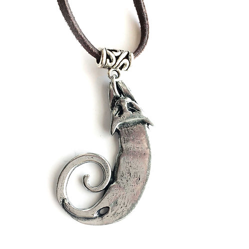 Cat pendant pewter necklace on leather cord unique cat gift