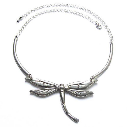 Dragonfly Art Nouveau necklace pewter dragonfly statement necklace choker