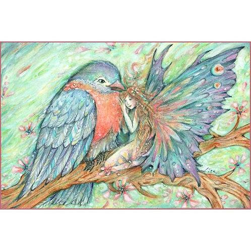 Blue Bird and Fairy friendship art print Little Friends picture fairy and bird