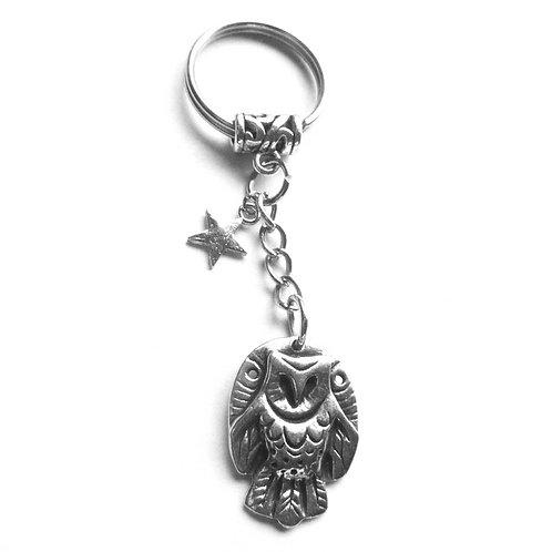 Owl keychain barn owl totem keyring