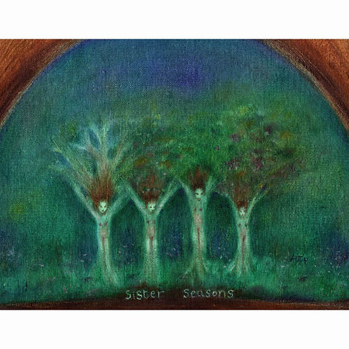 Sister Seasons family art print painting of four sisters