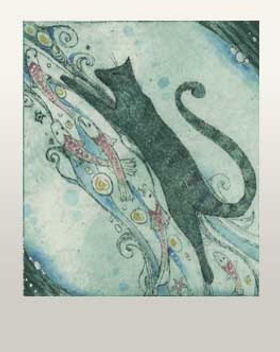 cat with fish etching cat fish print original art