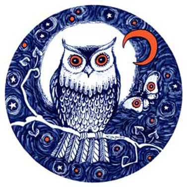 Night Owl art print from the original owl drawing by Liza Paizis