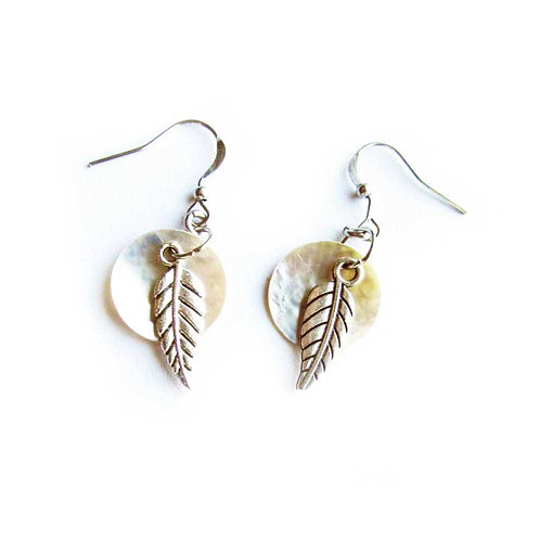Shell feather silver tone earrings
