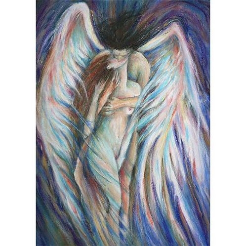 Angel's Kiss romantic art print of two embracing lovers Angel Love
