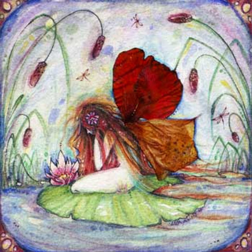 Fairy Pond art print of a fairy by Liza Paizis
