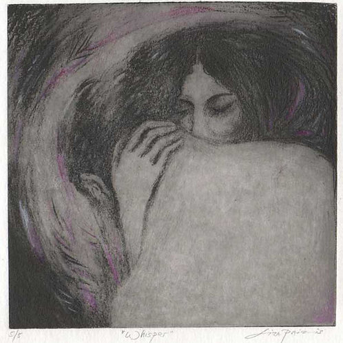 Whisper Romantic Etching of Lovers : Solar Plate and handcolored Limited Editio