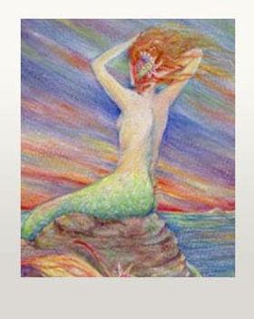 mermaid on a rock mermaid picture art