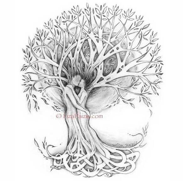 Tree of Love art couple in tree romantic picture