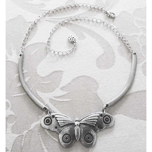 Butterfly Moth Art Deco Necklace pewter statement choker