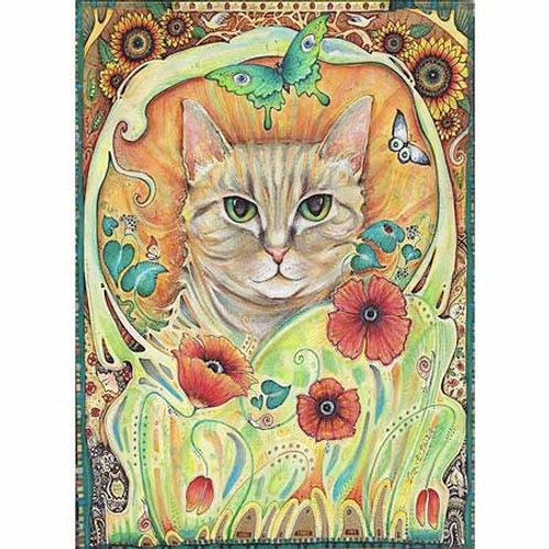 Art Nouveau Cat folk art print Poppy Cat