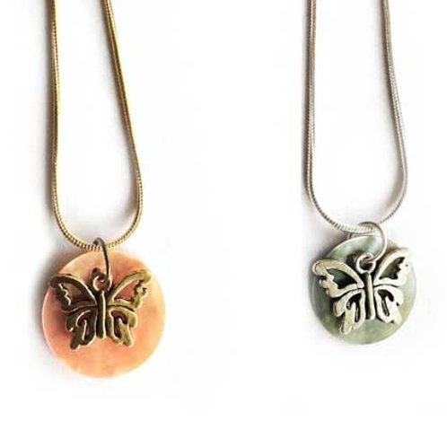 Butterfly mother of pearl shell pendant necklace