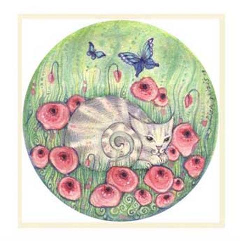 Flower Cat art print cat with flowers