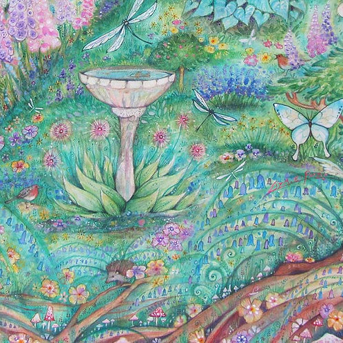 The Secret Garden art print of a whimsical garden