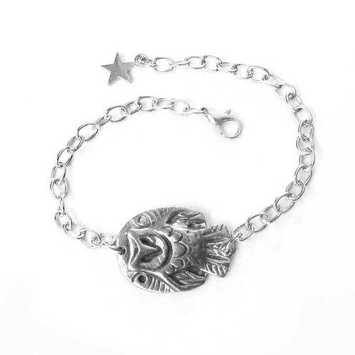 Owl bracelet barn owl bangle artisan owl jewelry