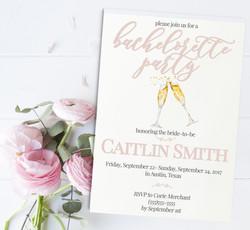 Simple Champagne Bachelorette Invitation