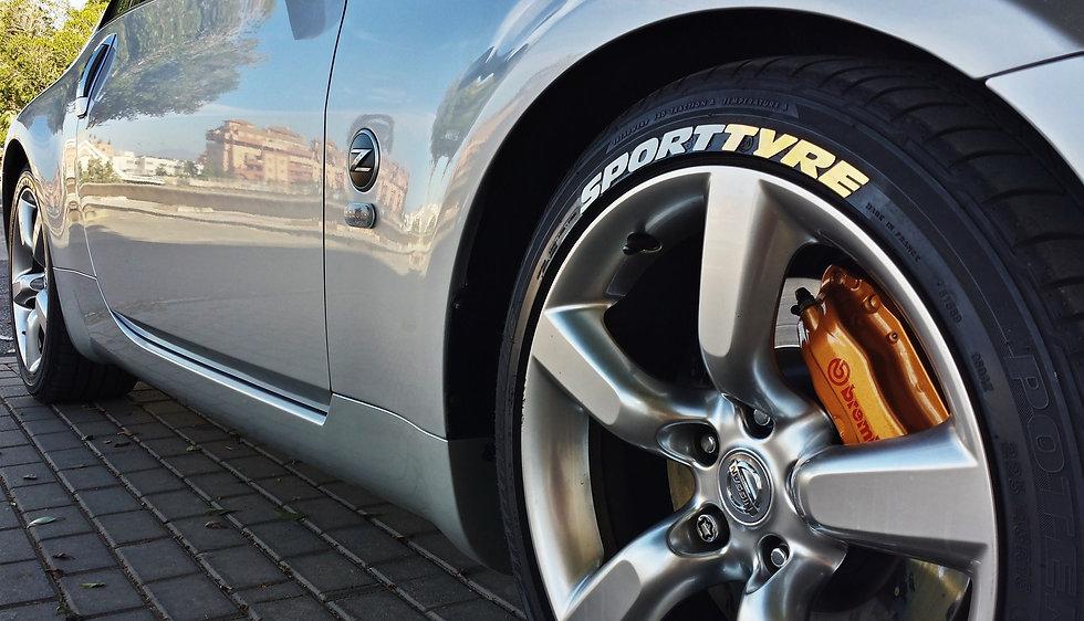 SportTyre EVO2: Pack 36 letras (9 letras x 4 neumáticos) FIRESTONE, ALFA ROMEO..