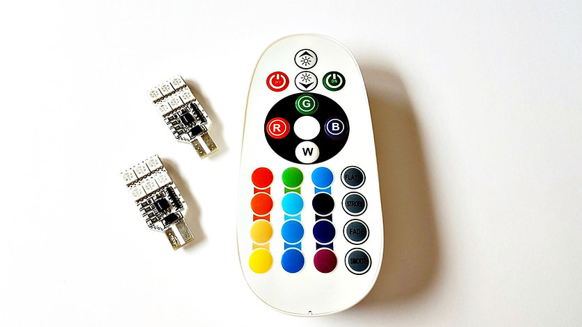 LEDiamond W5W-T10 RGB Ambiental. 12 LED (6 LED a cada cara) + Mando Inalámbrico