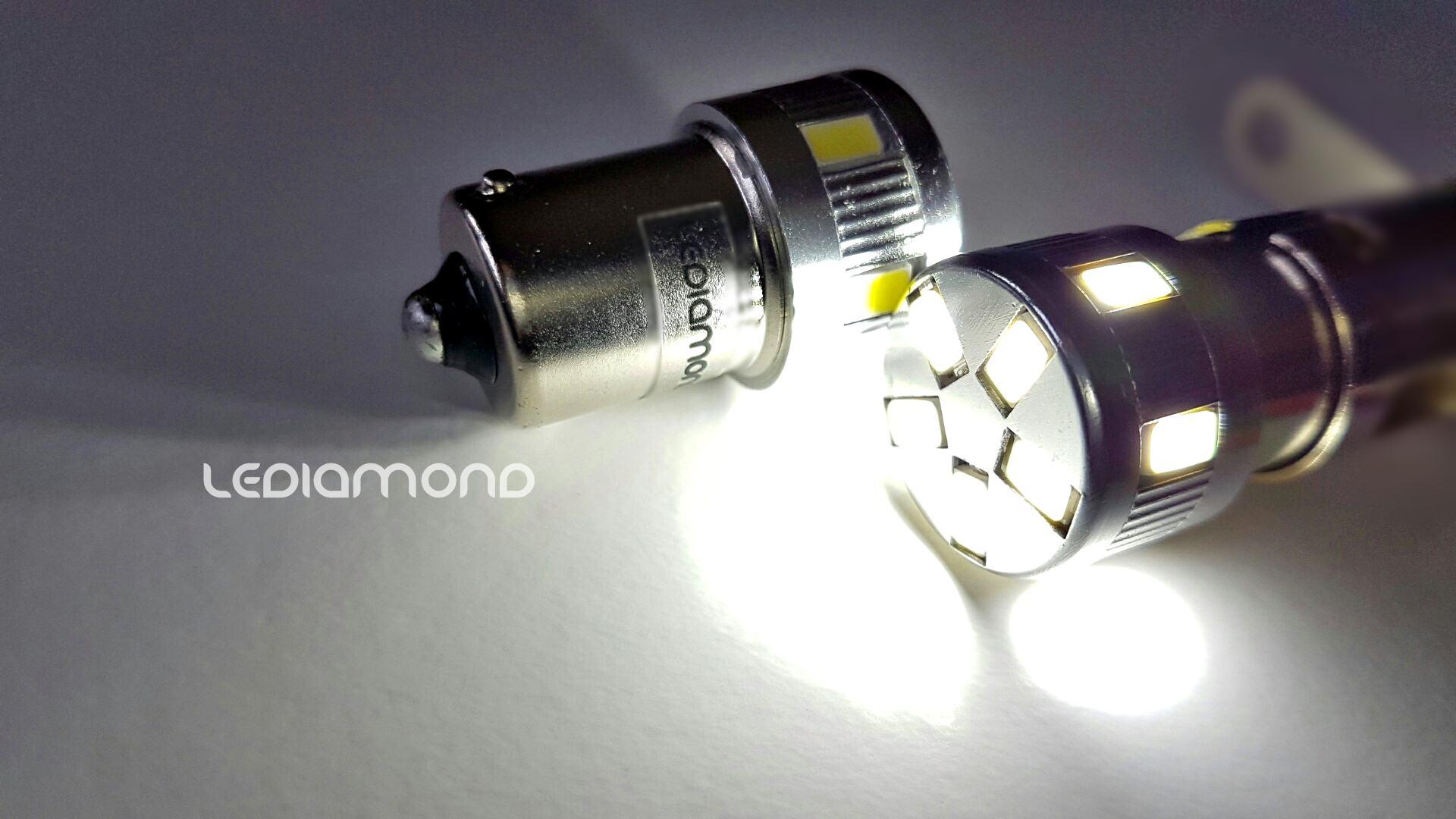 LEDIAMOND R5W-BA15S PREMIUM BLANCO DIAMANTE LUZ LOGO