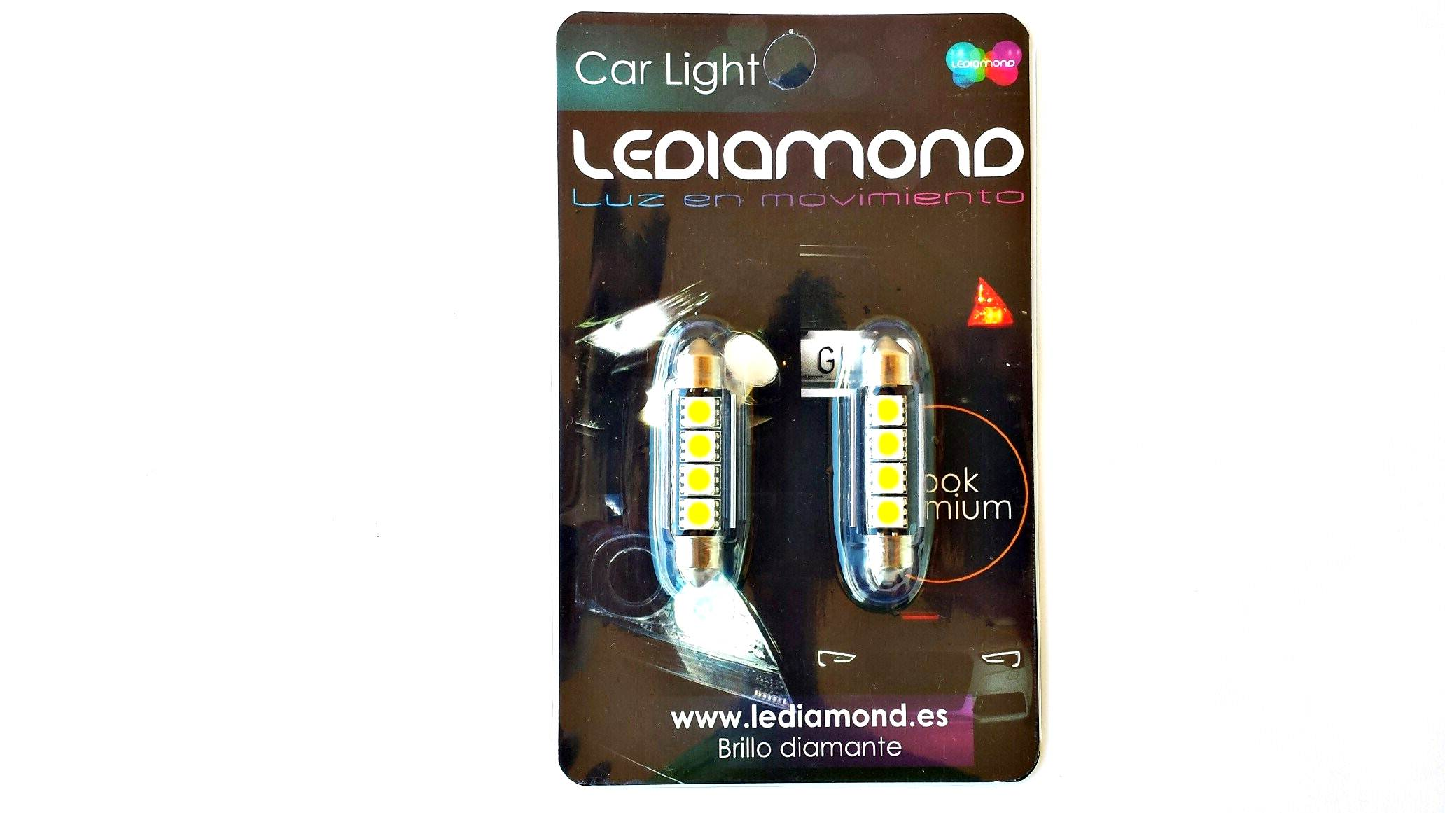 BLISTER bombillas lediamond c5w festoon 42mm samsung 5050 B