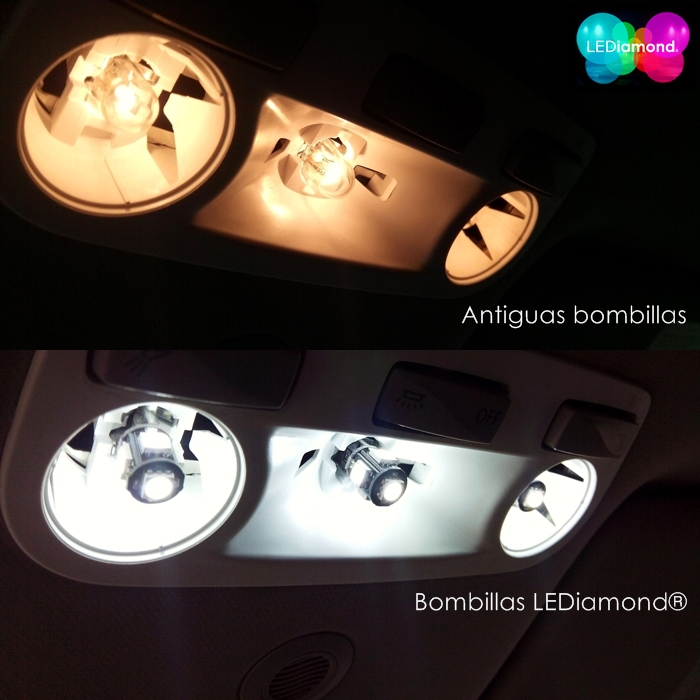 Comparatica bombillas halogena y LEDIAMOND W5W-T10 NEW GENERATION