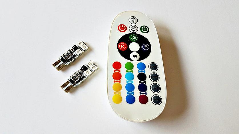 LEDiamond W5W-T10 RGB Ambiental. 6 LED (3 LED a cada cara) + Mando Inalámbrico