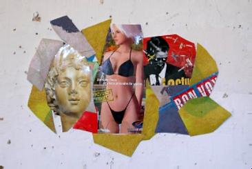 collage avec une tête d'ange et une femme en bikini