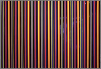 Le paradigme n°2,  de bois peintes,détail, lamelle  3 couleurs BRJ sur fond de cartoline Chromolux bleu nuit, 2012