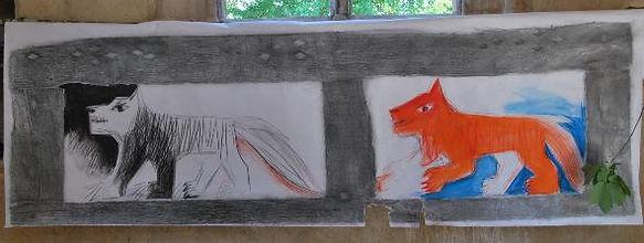 dessin représentant deux loup